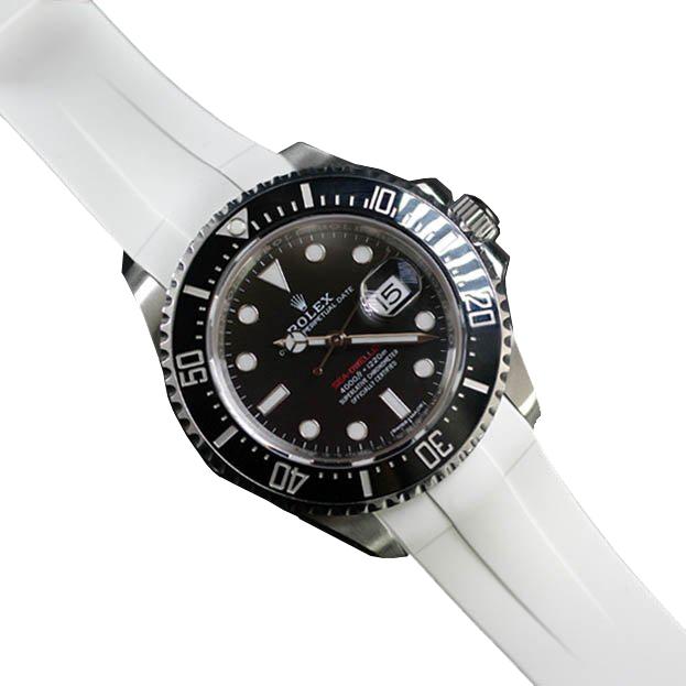 RUBBERB ロレックス シードゥエラー43mm(Ref.126600など)専用ラバーベルト 色:ホワイト【尾錠付き】※時計は付属しません