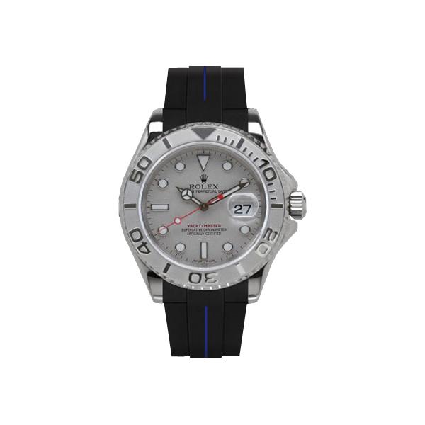 ラバーB【RUBBERB】ROLEXヨットマスター(40mm)専用ラバーベルト 色:ブラック×ブルー【尾錠付き】※時計は付属しません