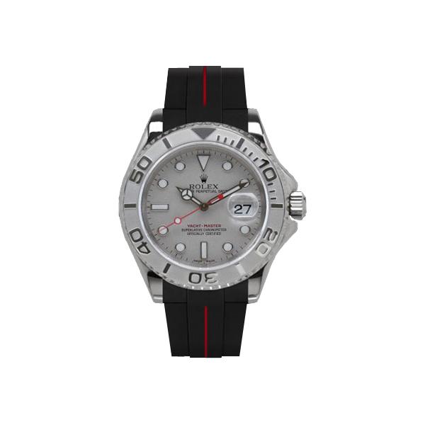ラバーB【RUBBERB】ROLEX ヨットマスター(40mm)専用ラバーベルト 色:ブラック×レッド【尾錠付き】※時計は付属しません