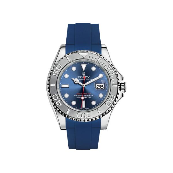 ラバーB【RUBBERB】ROLEXヨットマスター(40mm)専用ラバーベルト 色:ブルー【尾錠付き】※時計は付属しません