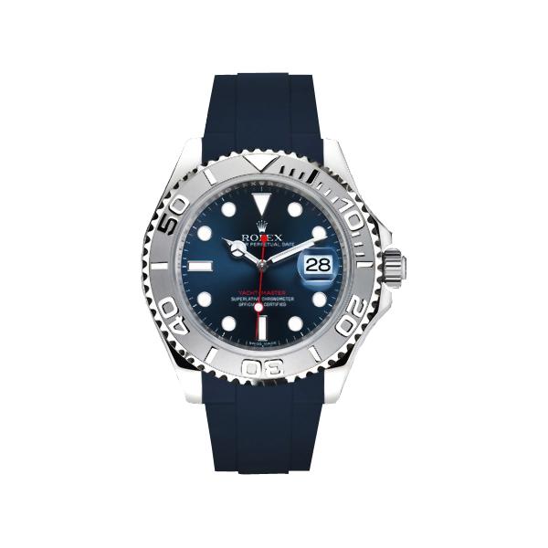 ラバーB【RUBBERB】ROLEXヨットマスター(40mm)専用ラバーベルト 色:ネイビー【ROLEX純正バックルを使用】※時計、バックルは付属しません