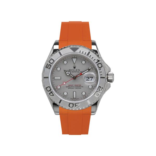 ラバーB【RUBBERB】ROLEXヨットマスター(40mm)専用ラバーベルト 色:オレンジ【ROLEX純正バックルを使用】※時計、バックルは付属しません