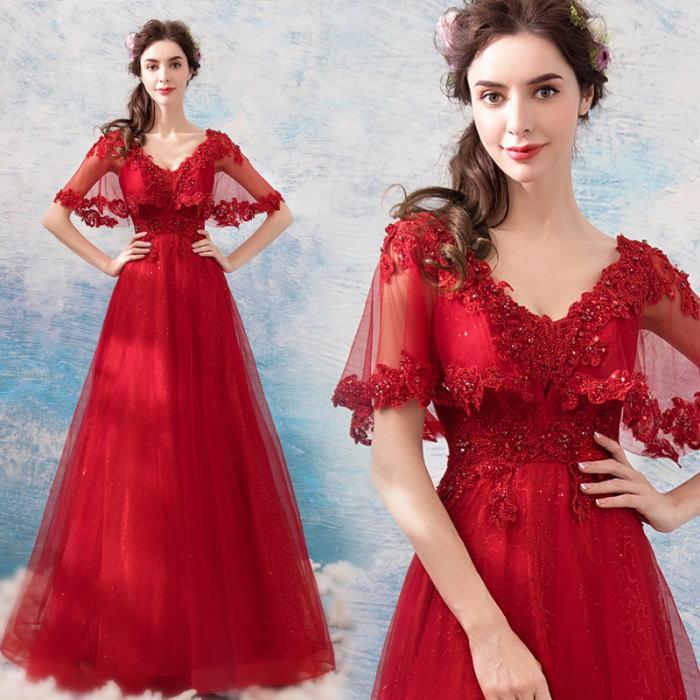 【ANGEL】肌透けチュールスパンコールビーズ半袖付き背中編上げAラインロングドレス【送料無料】高品質 レッド 赤 ロングドレス パーティードレス【GLITTER DRESS】【グリッタードレス】
