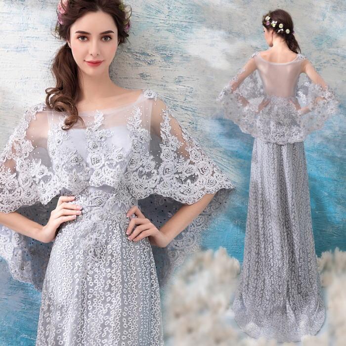 【ANGEL】肌透けチュールレースパールマント半袖付きトレーンAラインロングドレス【送料無料】高品質 グレー 灰色 ロングドレス パーティードレス【GLITTER DRESS】【グリッタードレス】