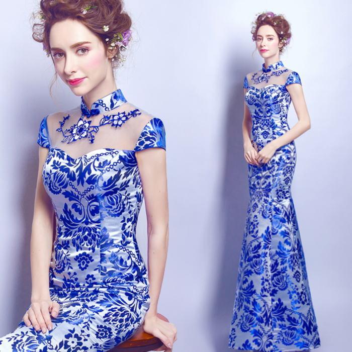 【ANGEL】チャイナカラー花柄半袖肌透けチュールマーメイドラインロングドレス【送料無料】高品質 ブルー 青 ロングドレス パーティードレス【GLITTER DRESS】【グリッタードレス】