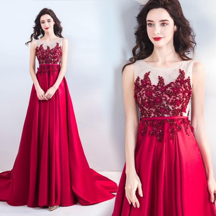 【ANGEL】ノースリーブ肌透けチュールレースビーズトレーンAラインロングドレス【送料無料】高品質 レッド 赤 ロングドレス パーティードレス【GLITTER DRESS】【グリッタードレス】