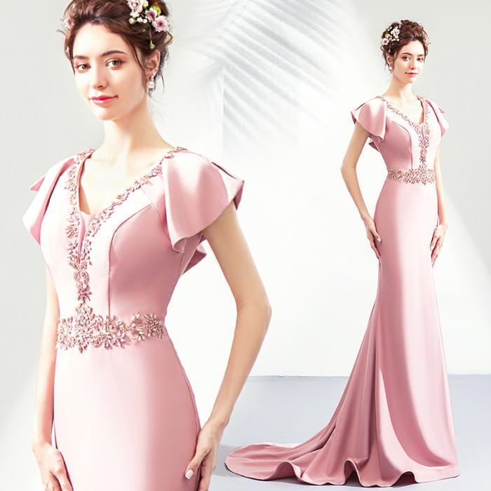 【ANGEL】Vネックラインストーンフリル半袖付きトレーンマーメイドラインロングドレス【送料無料】高品質 ピンク ロングドレス パーティードレス【GLITTER DRESS】【グリッタードレス】