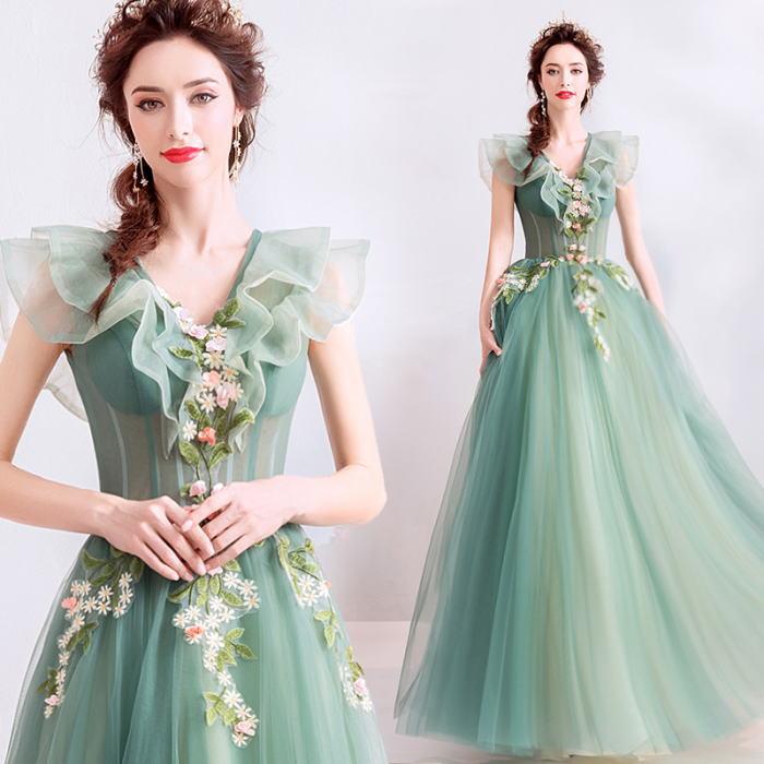 【ANGEL】ノースリーブ肌透けチュールフラワーフリル背中編上げAラインロングドレス【送料無料】高品質 グリーン 緑 ロングドレス パーティードレス【GLITTER DRESS】【グリッタードレス】
