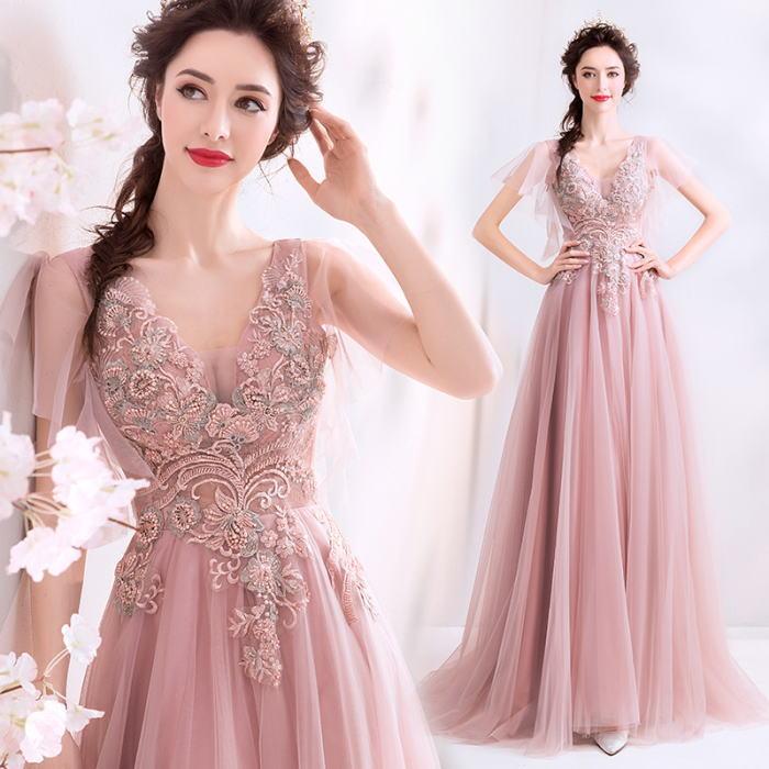 【ANGEL】肌透けチュールレースパール半袖付き背中編上げAラインロングドレス【送料無料】高品質 ピンク ロングドレス パーティードレス【GLITTER DRESS】【グリッタードレス】