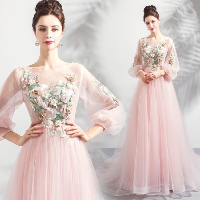 【ANGEL】肌透けチュールレース七分袖付き背中編上げトレーンAラインロングドレス【送料無料】高品質 ピンク ロングドレス パーティードレス【GLITTER DRESS】【グリッタードレス】