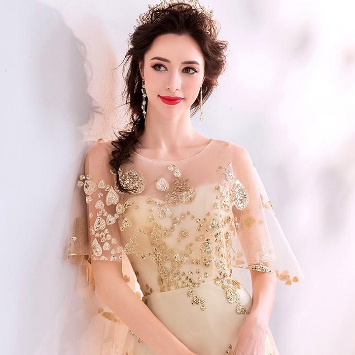 【ANGEL】肌透けチュールラメスパンコールマント袖付き背中編上げAラインロングドレス【送料無料】高品質 ゴールド 金色 ロングドレス パーティードレス【GLITTER DRESS】【グリッタードレス】
