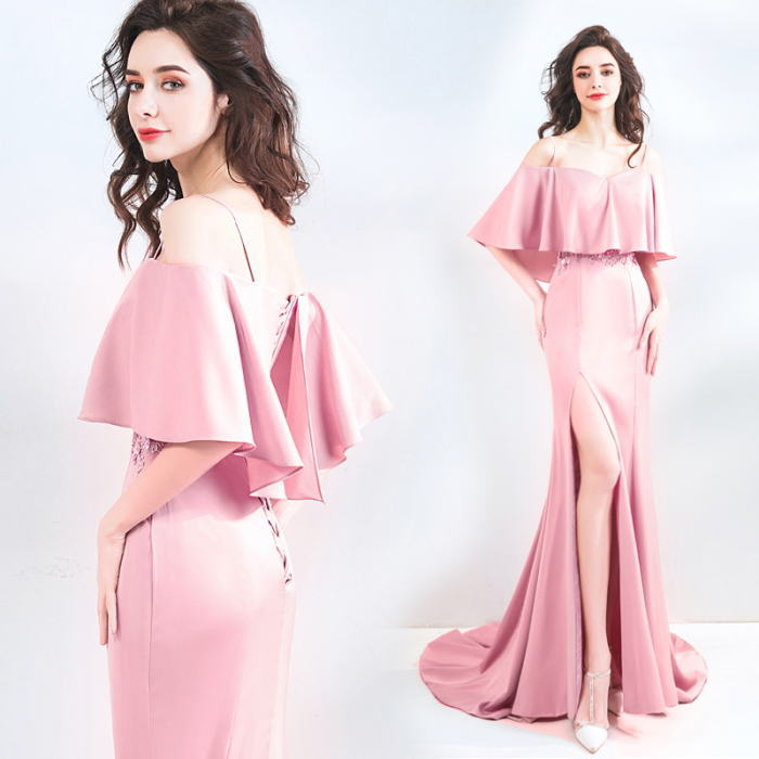 【ANGEL】オフショルダーレースビーズフリル半袖付きスリットトレーンマーメイドラインロングドレス【送料無料】高品質 ピンク ロングドレス パーティードレス【GLITTER DRESS】【グリッタードレス】