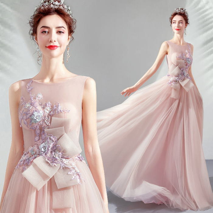 【ANGEL】ノースリーブチュールレースリボンビーズラインストーン背中編上げAラインロングドレス【送料無料】高品質 ピンク ロングドレス パーティードレス【GLITTER DRESS】【グリッタードレス】