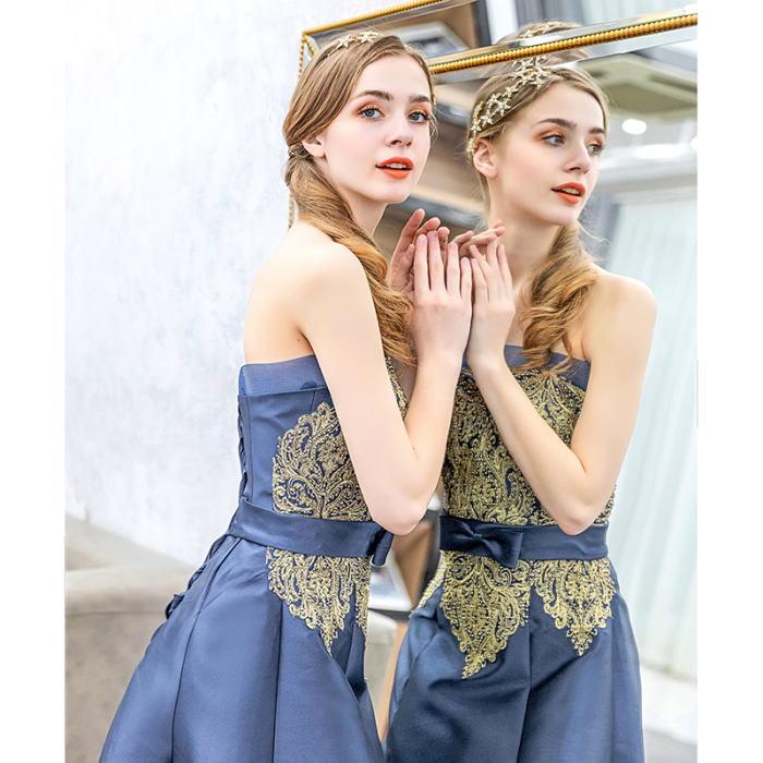 【ANGEL】ベアトップレースリボンラインストーン背中編上げAラインロングドレス【送料無料】高品質 ブルー 青 ロングドレス パーティードレス【GLITTER DRESS】【グリッタードレス】
