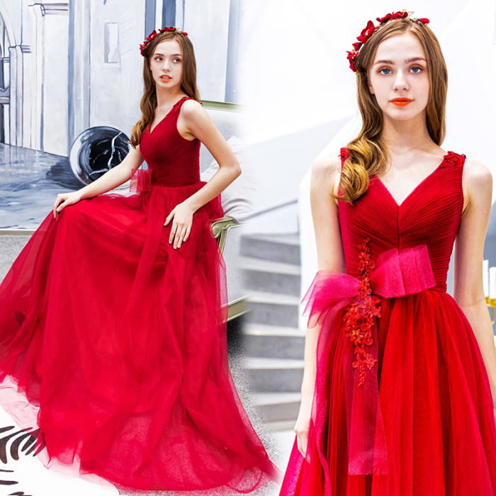 【ANGEL】ノースリーブレースリボンチュール背中編上げAラインロングドレス【送料無料】高品質 レッド 赤 ロングドレス パーティードレス【GLITTER DRESS】【グリッタードレス】