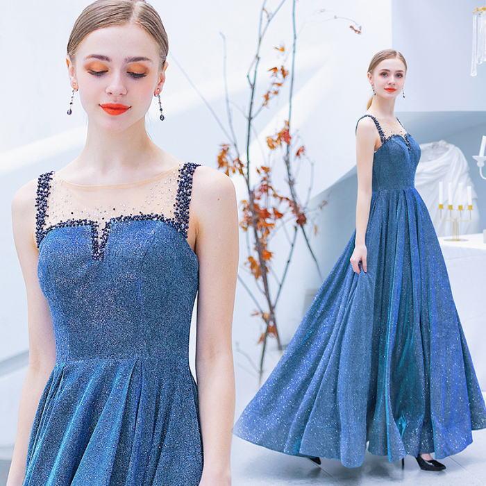 【ANGEL】ノースリーブ肌透けビーズラメ背中編上げAラインロングドレス【送料無料】高品質 ブルー 青 ロングドレス パーティードレス【GLITTER DRESS】【グリッタードレス】