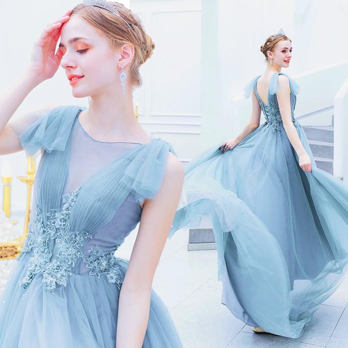 【ANGEL】肌透けチュールレースビーズノースリーブ背中編上げAラインロングドレス【送料無料】高品質 ブルー 水色 ロングドレス パーティードレス【GLITTER DRESS】【グリッタードレス】