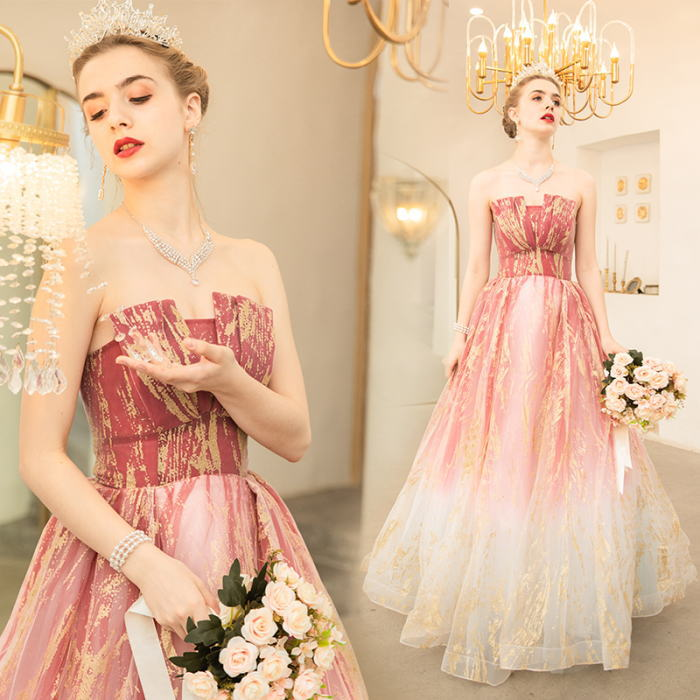 【ANGEL】ベアトップラメグラデーションカラーチュール背中編上げAラインロングドレス【送料無料】高品質 ピンク ホワイト 白 ロングドレス パーティードレス【GLITTER DRESS】【グリッタードレス】