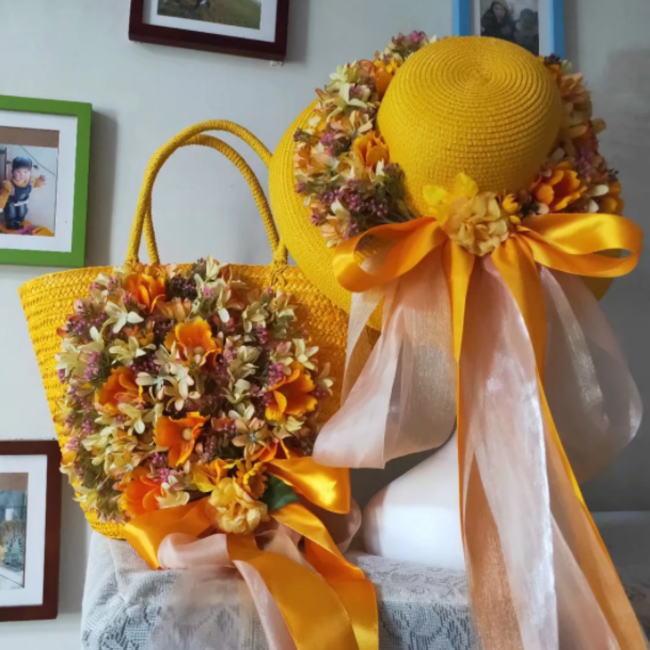 かごバッグ 麦わら帽子 セット イエロー 黄色 フラワー 花 お花 リボン カゴバッグ 帽子 ストローハット ハット レディース 籠 バッグ リゾート かばん オシャレ
