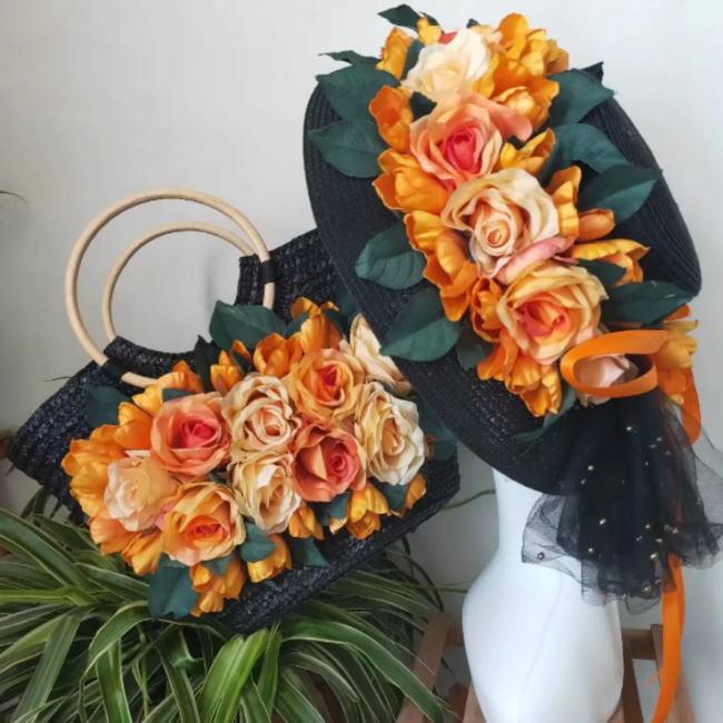かごバッグ 麦わら帽子 セット ブラック 黒 オレンジ 橙 フラワー 花 お花 リボン カゴバッグ 帽子 ストローハット ハット レディース 籠 バッグ リゾート かばん オシャレ