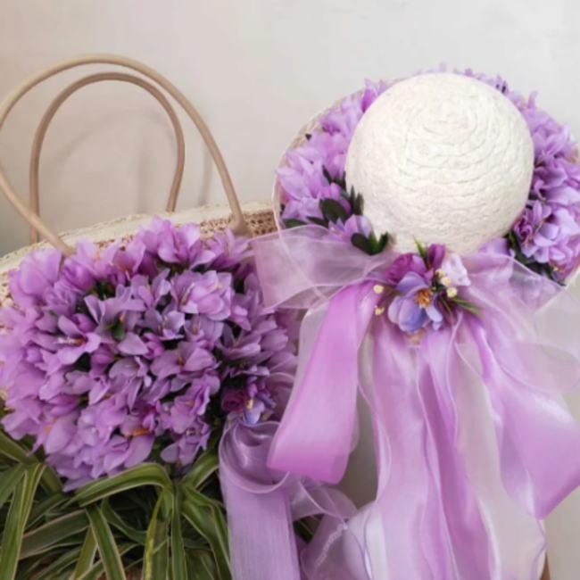 かごバッグ 麦わら帽子 セット ホワイト 白 パープル 紫 フラワー 花 お花 リボン カゴバッグ 帽子 ストローハット ハット レディース 籠 バッグ リゾート かばん オシャレ