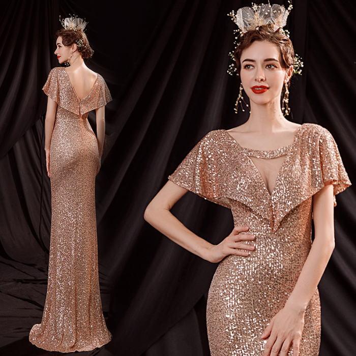 半袖付き ドレス マーメイドライン ゴールド 金色 パーティードレス ANGEL 肌透け 総スパンコール ロングドレス チュール ロング