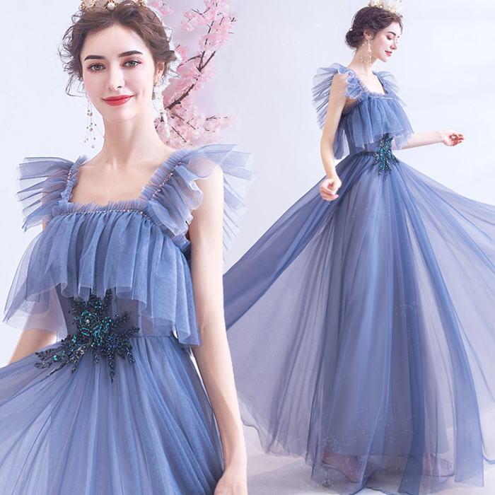 【ANGEL】キャミソール肌透けチュールフリルスパンコールビーズ背中編上げAラインロングドレス【送料無料】高品質 ブルー 青 ロングドレス パーティードレス【GLITTER DRESS】【グリッタードレス】