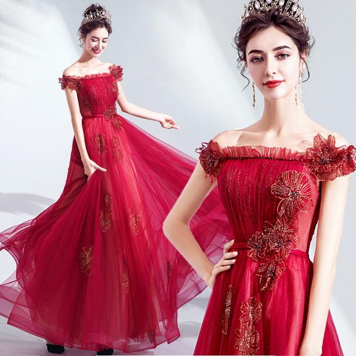 【ANGEL】オフショルダー肌透けラメチュールフラワービーズ背中編上げAラインロングドレス【送料無料】高品質 レッド 赤 ロングドレス パーティードレス【GLITTER DRESS】【グリッタードレス】
