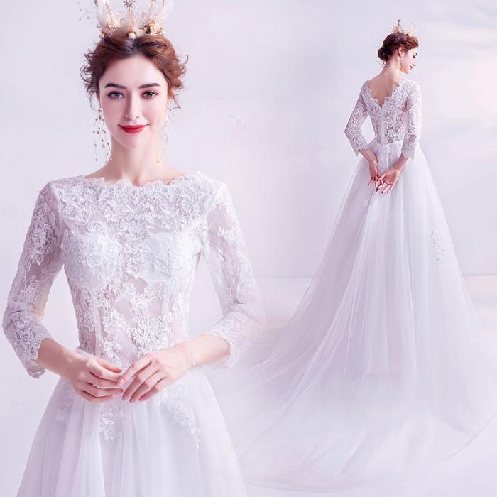ANGEL 七分袖 肌透け チュール レース トレーン プリンセス Aライン ロングドレス ホワイト 白 ウエディングドレス ロング ドレス パーティードレス