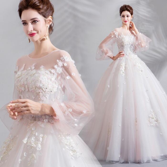 ANGEL 肌透け チュール レース フラワー パール 七分袖 プリンセス Aライン ロングドレス ホワイト 白 ピンク ウエディングドレス ロング ドレス パーティードレス