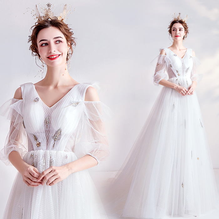 ANGEL 肌透け ドット チュール スパンコール フリル 七分袖 Aライン ロングドレス ホワイト 白 ウエディングドレス ロング ドレス パーティードレス