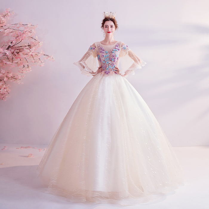 ANGEL 肌透け レース フラワー ラインストーン チュール 七分袖付き 背中編上げ プリンセス Aライン ロングドレス ベージュ 生成 ロング ドレス パーティードレス