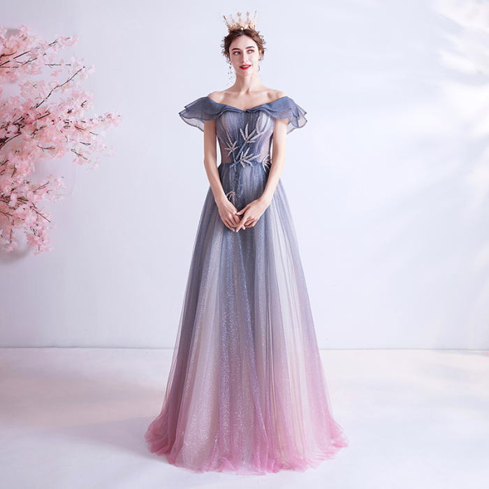 ANGEL オフショルダー グラデーション 肌透け チュール ラメ ビーズ フリル 半袖付き 背中編上げ Aライン ロングドレス ブルー 青 ピンク ロング ドレス パーティードレス