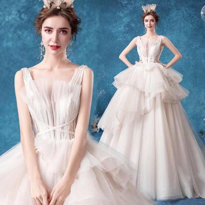 ANGEL ノースリーブ 肌透け チュール パール ラメ フリル 背中編上げ トレーン プリンセス Aライン ロングドレス オフホワイト 白 ウエディングドレス ロング ドレス パーティードレス
