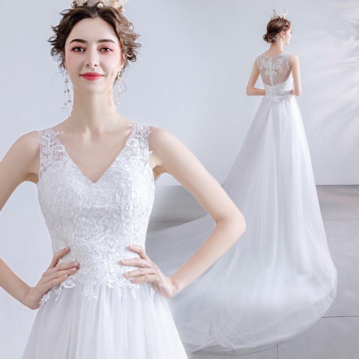 ANGEL ノースリーブ Vネック 肌透け チュール レース パール トレーン Aライン ロングドレス ホワイト 白 ウエディングドレス ロング ドレス パーティードレス