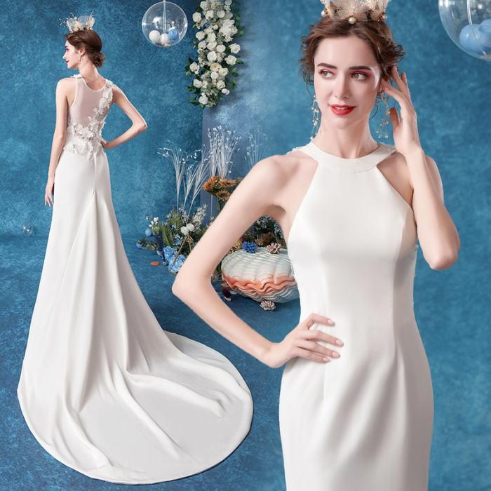 ANGEL アメリカンスリーブ 背中 肌透け チュール レース トレーン マーメイドライン ロングドレス ホワイト 白 ウエディングドレス ロング ドレス パーティードレス