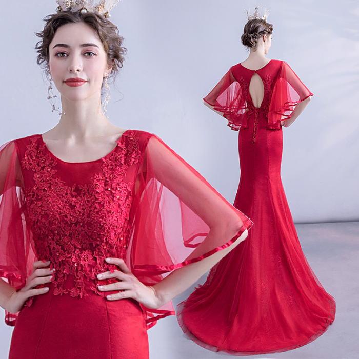 ANGEL 肌透け チュール レース ビーズ 五分袖付き 背中編上げ トレーン マーメイドライン ロングドレス レッド 赤 ロング ドレス パーティードレス