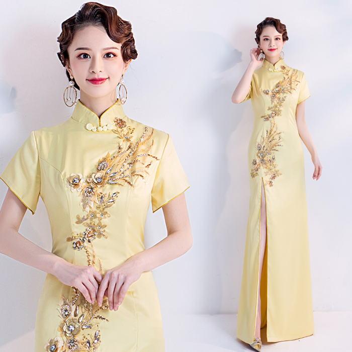 ANGEL チャイナカラー バラ 刺繍 スパンコール ビジュー 半袖付き スリット マーメイドライン チャイナドレス ロングドレス イエロー 黄色 ロング ドレス パーティードレス