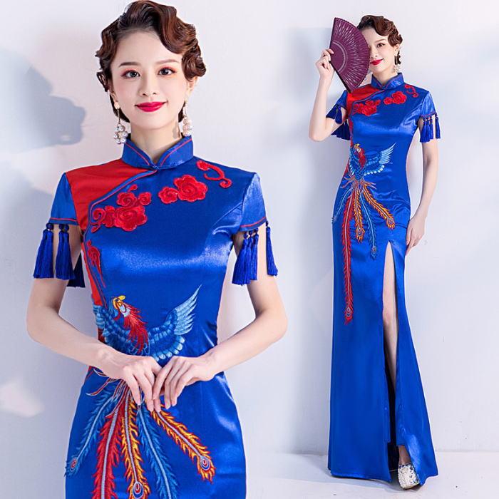 ANGEL チャイナカラー バラ 火の鳥 刺繍 フリンジ 半袖付き スリット マーメイドライン チャイナドレス ロングドレス ブルー 青 ロング ドレス パーティードレス