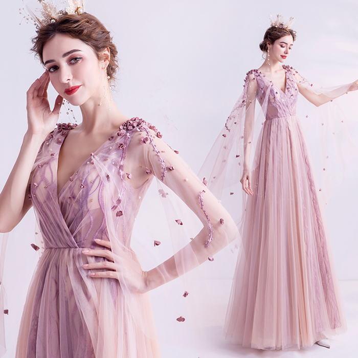 ANGEL Vネック 肌透け チュール レース パール フラワー マント袖付き 背中編上げ Aライン ロングドレス ピンク ロング ドレス パーティードレス