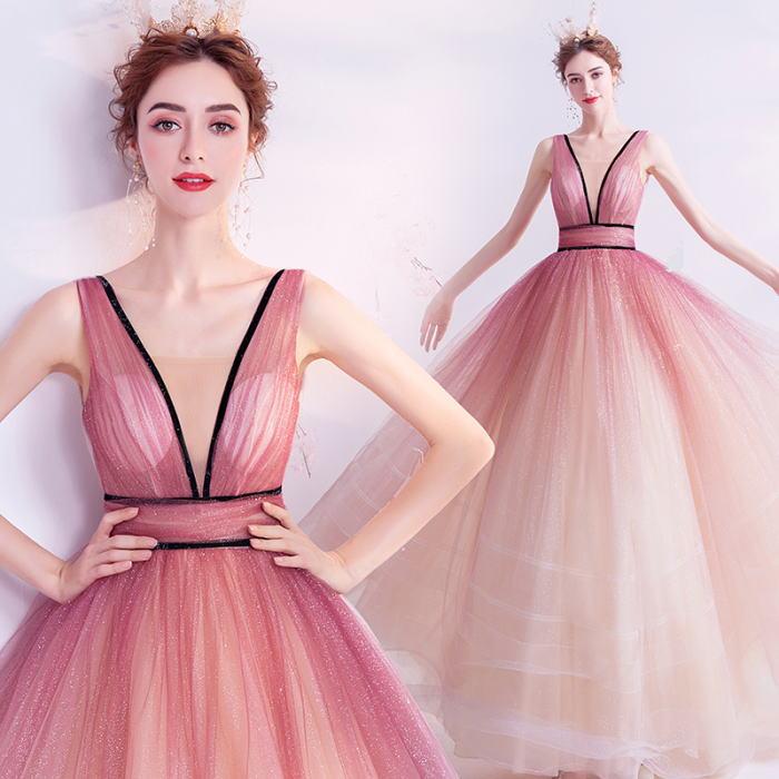 ANGEL ノースリーブ Vネック 肌透け グラデーション ラメ チュール 背中編上げ プリンセス Aライン ロングドレス ピンク ロング ドレス パーティードレス