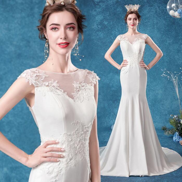 ANGEL ノースリーブ 肌透け チュール レース トレーン マーメイドライン ロングドレス ホワイト 白 ウエディングドレス ロング ドレス パーティードレス