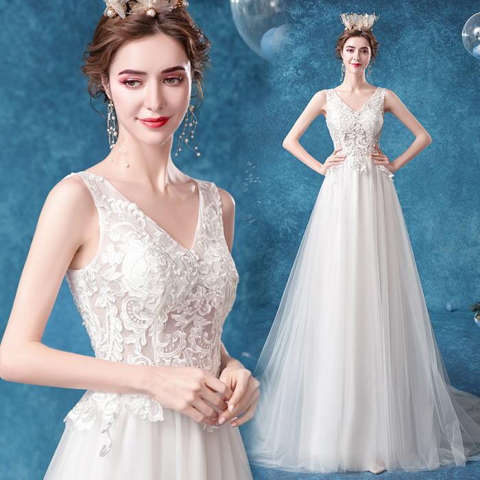 ANGEL Vネック 肌透け チュール レース ノースリーブ トレーン Aライン ロングドレス ホワイト 白 ウエディングドレス ロング ドレス パーティードレス