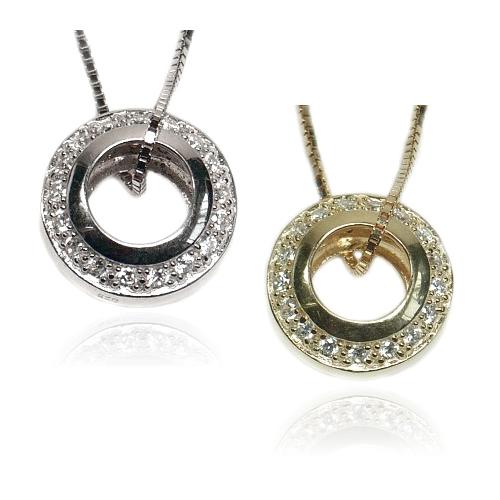 【送料無料】【あす楽対応】【楽ギフ_包装選択】シルバー925 高級CZダイヤ(キュービックジルコニア) 【0.76ct.tw】 甲丸オープンサークル エタニティベビーリングペンダントネックレス Dazzling CZ Pave Baby Circle Eternity Ring Pendant Necklace