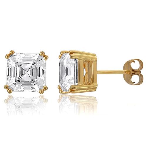 【送料無料】【あす楽対応】【楽ギフ_包装選択】シルバー925 大粒7mm 一粒石 アッシャーカット 高級CZダイヤ(キュービックジルコニア)【3.92ct.tw】ソリティアスタッドピアス(14ktゴールド仕上げ) Gold Vermeil Asscher Cut CZ Solitaire Stud Earrings