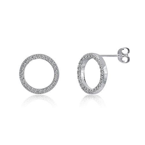 【送料無料】【あす楽対応】【楽ギフ_包装選択】シルバー925 AAA高級CZダイヤ(キュービックジルコニア)【0.78ct.tw】オープンサークルブリリアントパヴェピアス Sterling Silver 925 Round Brilliant AAA CZ Open Circle Stud Earrings