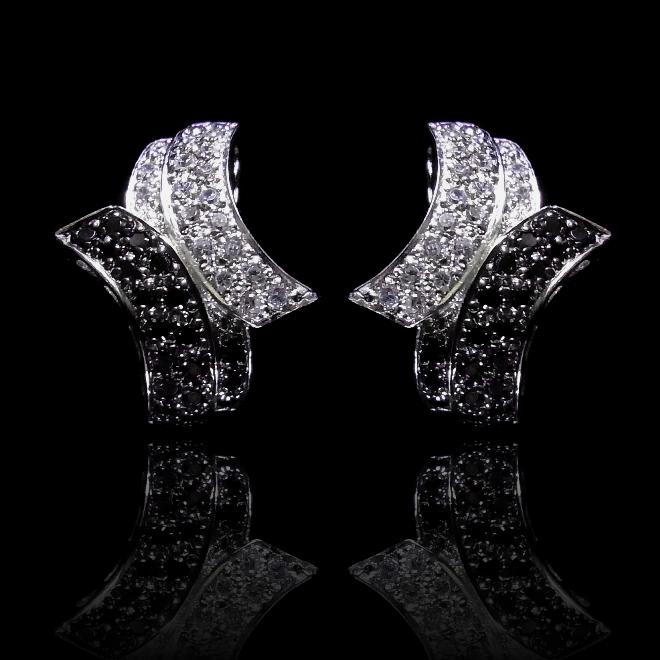 【送料無料】【あす楽対応】【楽ギフ_包装選択】シルバー925 高級CZダイヤ(キュービックジルコニア)【0.8ct.tw】ゼブラパヴェスライドポストピアス Black&White Zebra Pave Post Earrings