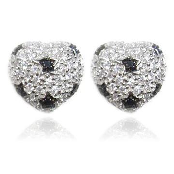 【送料無料】【あす楽対応】【楽ギフ_包装選択】シルバー925 CZダイヤ(キュービックジルコニア)【1.58ct.tw】ブラックczドットスター(星柄)ぷっくりハートモノトーンパヴェ ピアス 925 Silver Two Tone CZ , Dot Star Pave Heart Earrings With Omega Backs