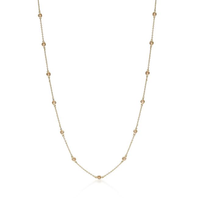 【送料無料】【あす楽対応】14kt-Gold-Over ロングレイヤードゴールドステーションネックレス|シャンパンCZダイヤ(キュービックジルコニア)【11ct.tw】ラウンドチェッカーカットベゼルセット 60 Inch Long Layered Necklace by Round Checkerboard Cut Champagne CZ Accents