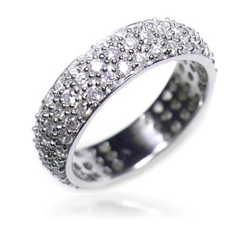 【送料無料】【あす楽対応】【楽ギフ_包装選択】★:*ランキング入賞*:★シルバー925 高級CZダイヤ(キュービックジルコニア) 3層(3段) パヴェ フルエタニティリング Sterling Silver Classic 3-Row Pave CZ Eternity Wedding Band Ring